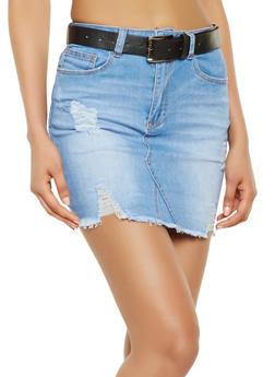 Belted Frayed Denim Skirt - 3071069397130