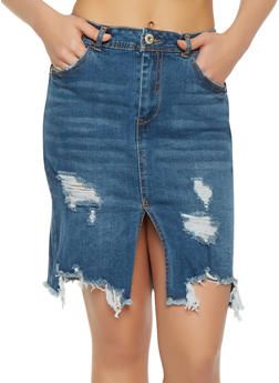 Highway Distressed Denim Skirt - DARK WASH - 3071071313518