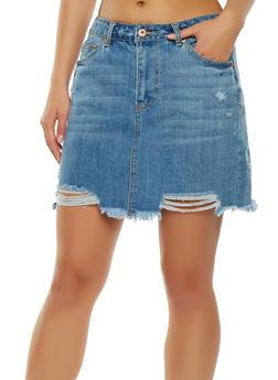 Highway Distressed Denim Mini Skirt - 3071071313555