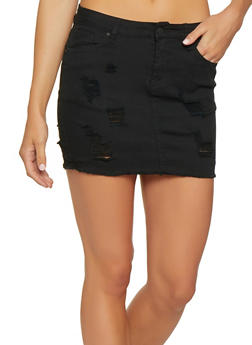 WAX Distressed Denim Mini Skirt - 3071071610014