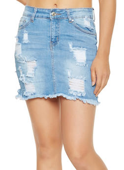 WAX Frayed Denim Skirt - 3071071610114