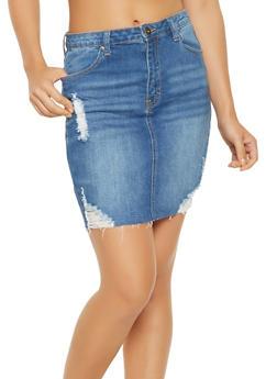 WAX Distressed Denim Pencil Skirt - 3071071610131
