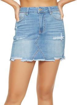 WAX Distressed Denim Mini Skirt - 3071071610132
