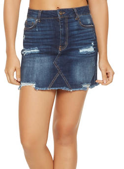WAX Distressed Denim Mini Skirt - 3071071610132