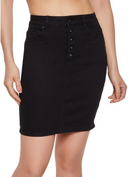 WAX Button Front Denim Pencil Skirt - 3071071610159