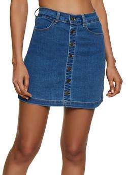 WAX Button Front Denim Skater Skirt - 3071071610170