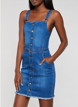 WAX Button Front Overall Dress - 3071071610171