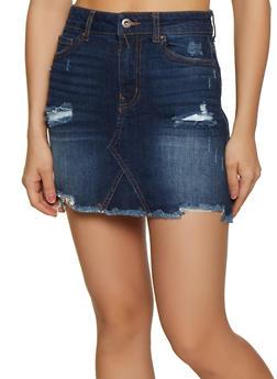 WAX Frayed Hem Jean Skirt - 3071071612310