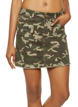Camouflage Denim Mini Skirt - 3071072290001