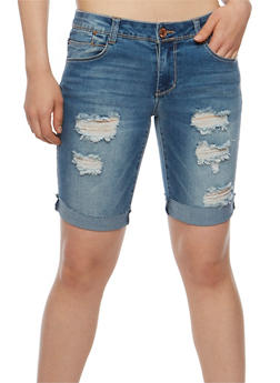 Almost Famous Destroyed Bermuda Jean Shorts - 3072015992597