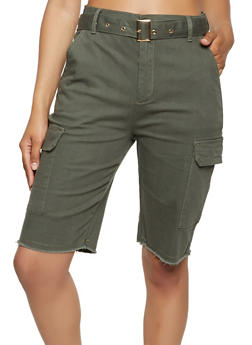 Frayed Hem Belted Cargo Bermuda Shorts - 3072015995357