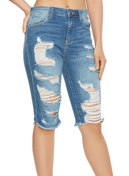 Cello Destroyed Denim Bermuda Shorts - 3072063156208