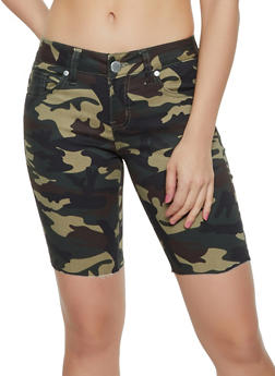 VIP Camo Raw Hem Stretch Bermuda Shorts - 3072065300023