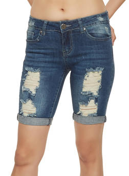 VIP Destroyed Denim Bermuda Shorts - 3072065306479
