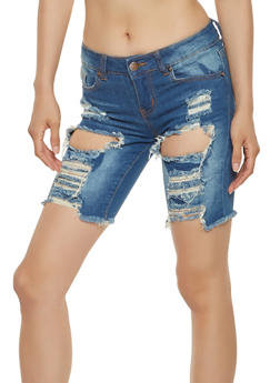 VIP Destroyed Denim Bermuda Shorts - 3072065308898