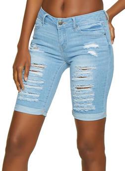WAX Destroyed Denim Bermuda Shorts   3072071612112 - 3072071612112