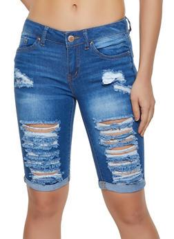 WAX Destroyed Denim Bermuda Shorts | 3072071612112 - 3072071612112