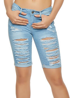 WAX Destroyed Denim Bermuda Shorts - 3072071619012