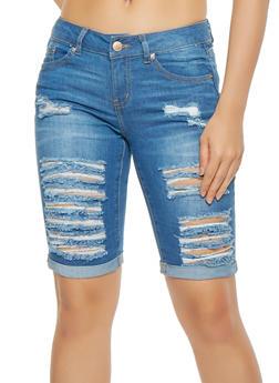 WAX Destroyed Denim Bermuda Shorts - 3072071619012