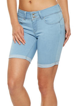 WAX 2 Button Denim Bermuda Shorts - 3072071619062