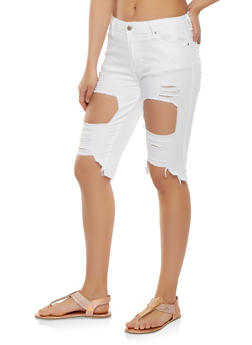 Ripped Denim Bermuda Shorts - 3072072290270