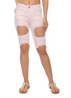 Ripped Denim Bermuda Shorts - 3072072290270