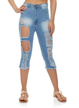 High Waisted Destroyed Denim Capris - 3073072292740