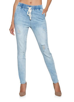 Almost Famous Elastic Waist Jeans - 3074015990008