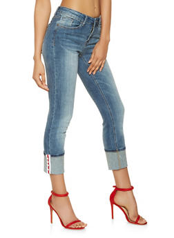 Almost Famous Faux Pearl Tape Jeans - 3074015990010