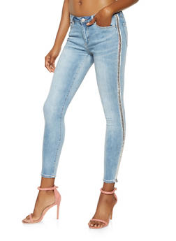 Almost Famous Sequin Tape Skinny Jeans - 3074015990020