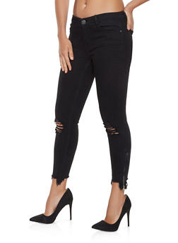 Almost Famous Frayed Zip Hem Jeans - 3074015990077