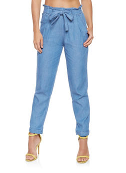Chambray Paper Bag Waist Pants - 3074015990158