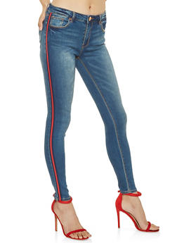 Almost Famous Striped Trim Jeans - 3074015990236