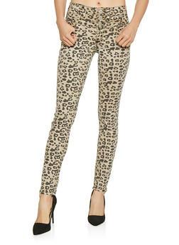 Almost Famous Leopard Print Jeans - 3074015990345