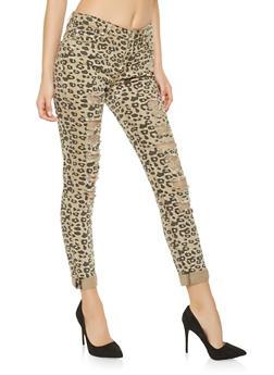 Almost Famous Leopard Print Jeans - 3074015990385