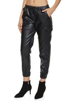 Faux Leather Cargo Joggers - 3074015990440