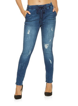Almost Famous Elastic Waistband Jeans - 3074015991008