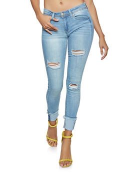 Almost Famous Frayed Hem Skinny Jeans - 3074015991184