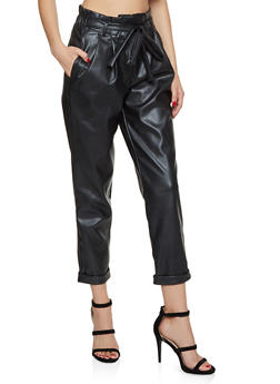 Faux Leather Paper Bag Waist Pants - 3074015991277