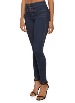 Almost Famous Curved Waist Skinny Jeans - 3074015991364