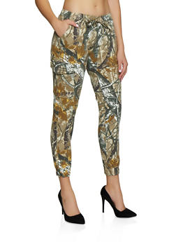 Almost Famous Forest Camo Print Joggers - 3074015991441