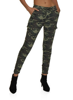 Almost Famous Ruched Camo Cargo Pants - 3074015993444