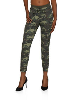 Almost Famous Rib Knit Band Camo Cargo Joggers - 3074015994646