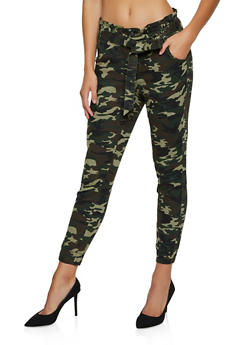 Almost Famous Camo Tie Front Joggers - 3074015994858
