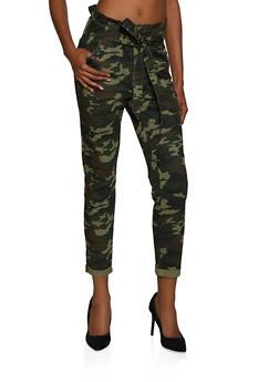 Almost Famous Camo Paper Bag Waist Jeans - 3074015995588
