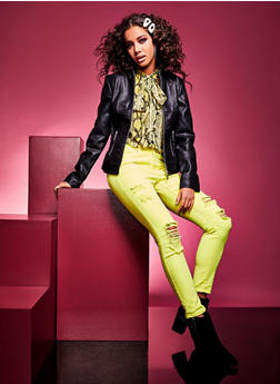 Almost Famous Destroyed Neon Skinny Jeans - 3074015996000