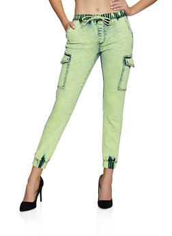 Almost Famous Neon Denim Cargo Joggers - 3074015998444