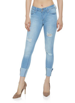 Almost Famous Distressed Raw Hem Skinny Jeans - 3074015998884
