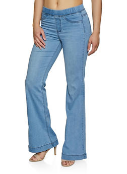 Flared Pull On Jeans - 3074038200394