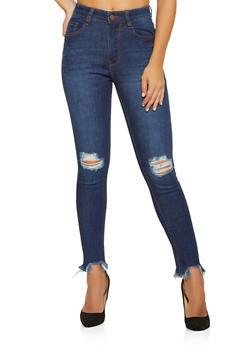 Frayed Hem Jeans - 3074038203155